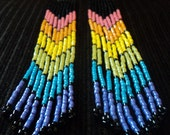Otrageously Long and Extremely Phunky Beaded Fringed Earrings