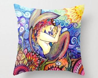 Mermaid with baby mermaid pillow throw nursery decor, room decor