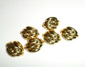 Vintage Gold Tone Buttons - Plastic Shank Buttons - Oval Buttons - Fancy Design Buttons - Clothing Restoration Buttons - Craft Supply