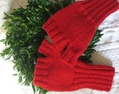 Knit Mitts Fingerless Softest 100% Cherry Red Wool Seamless Mittens Handmade by Textilesone Ready to Ship