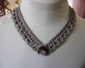 Little Lace Collar Silver Grey Cotton with Vintage Abalone Button Hand Knit Choker Lacy Necklace Accessory from Textilesone Ready to Ship