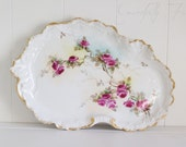 Antique Limoges Hand Painted Tray Pink Roses Kidney Shape Dresser Tray