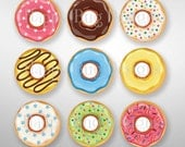 """Donuts Magnet Set of 9 - 1-1/4"""" 1.25 inch  - With or Without Gift Tin"""