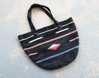 vintage 80s Purse - Black Southwestern Tapestry Tote Bag - Boho Ethnic Market Bag