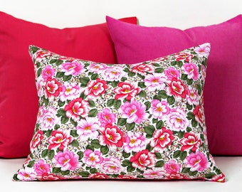 Shabby Chic Pillow, Pink Floral Cushion, Pink Accent Pillow, 14x18 Lumbar Pillow, Roses, Country Cottage Decor, Gift Idea for Her
