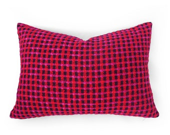 Vibrant Pink Pillow Cover, Fuchsia Pillow, Textured Pillow, Bohemian Pillows, Pink Red Black, Checked Pillow, Unique, Eclectic, 14x20 Lumbar