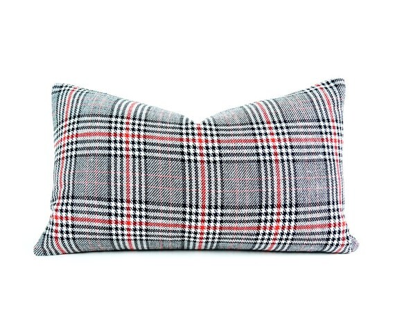 Black White Red Plaid Pillow Covers Christmas Plaid Cushion