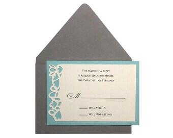 Petal RSVP Cards - response, pool, tiffany blue, cutout, flowery