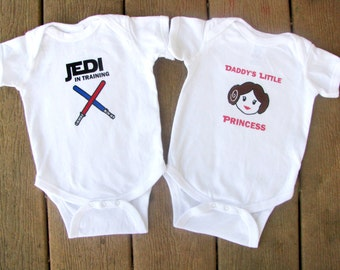 Star Wars Luke and Leia Baby Twin Bodysuit set - Custom Names available