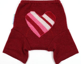 "WOOL SHORTIES - Wool Diaper Cover - ""I Heart You"" - Medium 9-18m"