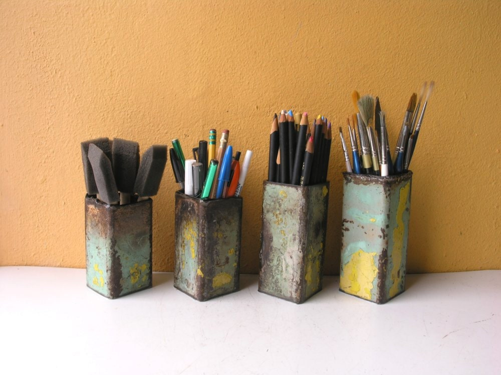 One Metal Pencil Holder Office Organizer Industrial by ...