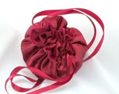 Small Satin Pouch, Small Drawstring, Deep Red, Rich Burgundy, Wine Color, Bridesmaid Bag, Flower Girl Bag, Garnet Color, Ready To Ship