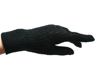 French Vintage 60s Hand Knit Black Gloves