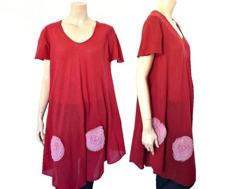 LILI CHIFFONS French Vintage Maxi Red Cotton Gauze Blouse / Tunic / Beach Dress