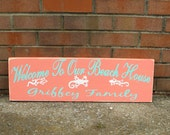 Beach House Welcome Sign / Door Sign / Welcome to our beach house / Personalized welcome sign / Custom colors and design