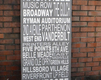 Custom Subway Art Sign, Personalized with your favorite destinations, Nashville Subway art
