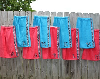 Set of 9 Custom Wraps - Spa Wrap Towel with SNAPS - Graduation / BRIDESMAIDS / Girls Trip Gifts