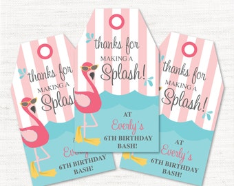 Flamingo Pool Party - Instant Download Editable Decor Party Favor Tags Goody Bag Tags