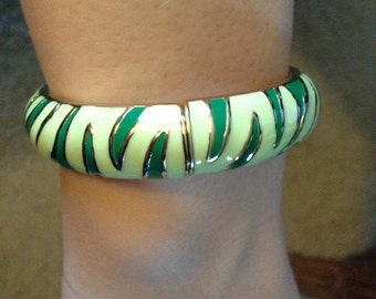 Vintage Hinged Bangle Enameled in tiger or zebra stripe green yellow and gold