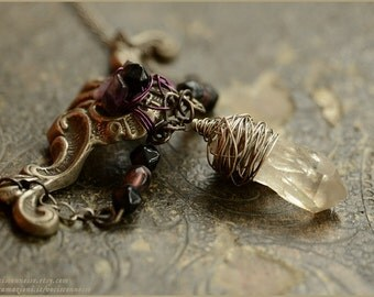 Crystal necklace with vintage brass element  - art nouveau style - Gemstone vintage jewelry