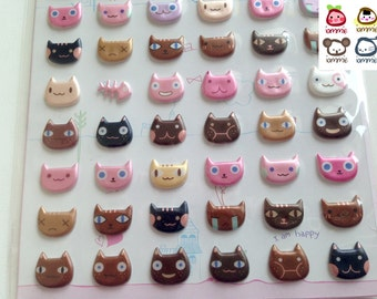Cat Sticker, kitten, cats, animals stickers, animals sticker, animal stickers, brown, pink, golden, emotion, white, cute,cartoon, colorful