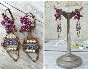 Fleurs rouges  /Handmade in France  purple & pearls long pendant dangles EARRINGS
