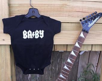 Baby rocker bodysuit black cotton AC/DC heavy metal logo parody