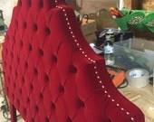 King Size Red Velvet Headboard Shipping Only