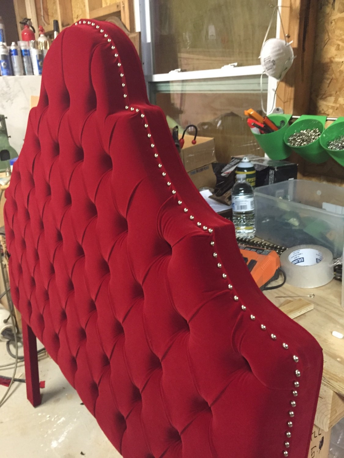 Queen Size Headboard Red Velvet Headboard Tufted Headboard
