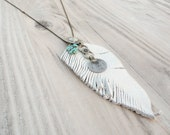 Long Layering Necklace, Gypsy Charm Necklace, White Feather and Turquoise Charms, Ball Chain Necklace
