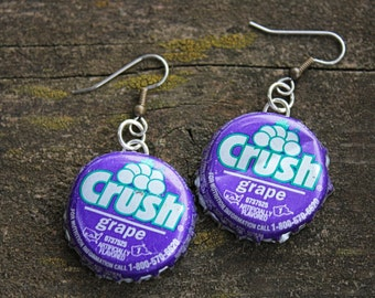 Bottle Cap Earrings // Soda Cap Earrings // Grape Crush // Cream Soda // Gifts Under 5 // Earrings // Novelty Gifts // Soda Pop // Purple