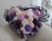 One of Kind Freeform Crochet Heart-Shaped Purple Throw Pillow