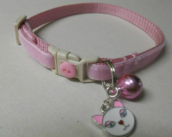 Velvet Girl Cat or Kitten Breakaway Collar - Light Pink/Kitty Bling