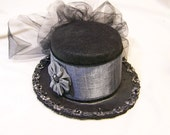 OOAK victorian steampunk riding hat mini black top hat with a black and silver gray band