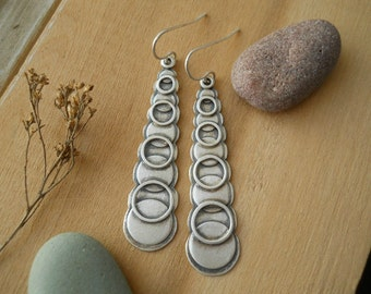 stacked circles earrings, sterling silver , tribal earrings, dangle earrings, hoops and disks, ready to ship