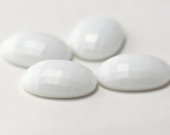 Vintage White Glass Oval Faceted Domed Cabochons Cabs 30mm Japan (4) 18x30mm