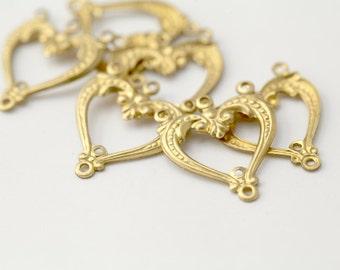 Vintage Brass Nouveau Heart 4 Loop Connectors 22mm (6)