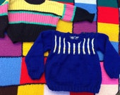 Traditional hand knitted by Nanna's toddler unisex jumper sweater set age 2-3 years home knit black yellow blue pink green striped neon