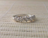 White Topaz Five Stone Anniversary Band Sterling Silver Made To Order