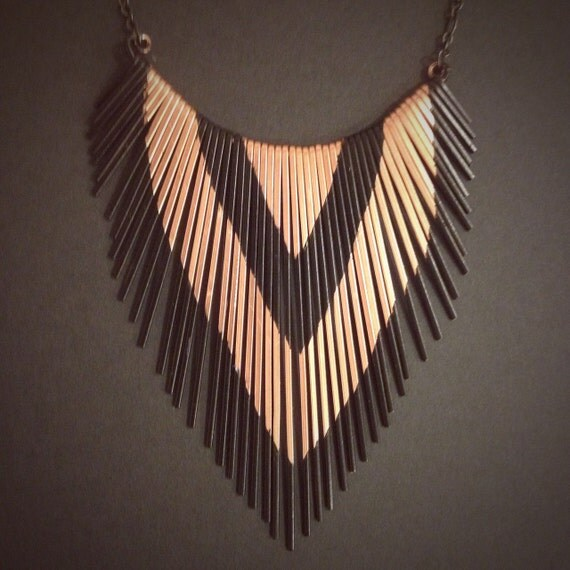 Fringe Necklace - Copper - Porcupine Quill inspired  - Copper Jewelry - Small Version- handmade in Austin, Tx