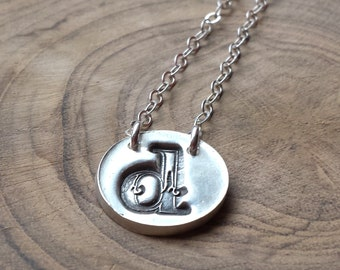 Silver oxidized initial necklace, initial pendant, personalized necklace, personalized pendant sterling silver custom initial charm