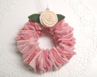 Valentines Day Wreath Decoration Ornament in Light Pink Handmade from Felted Wool Sweaters (no.616)