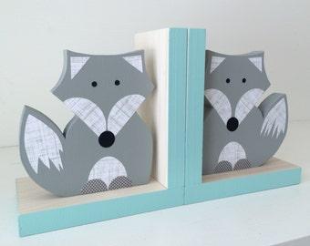 Fox Bookends, Gray and Aqua Blue, Woodland Nursery, Woodland Kids Decor, Fox Nursery, Forest Themed Nursery, eco friendly