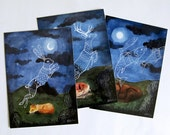 Animals Dreaming - Postcard, watercolor illustration, deer, fox, bear, rabbit, fish, ghost, moon light, carte postale