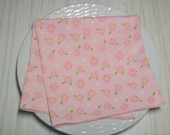 Cloth Napkins Pastel Pink Floral Set of 4