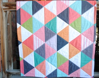 Reserved for meganmarie12381 - Organic Modern Quilt- Geometric Triangles - Organic  Bedding