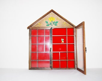 Vintage Wood Curio Case with Glass