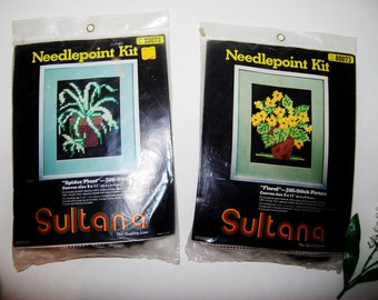 Vintage Needlepoint Kit Floral and Spider Plant