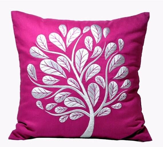 Peacok Tree Decorative Pillow Cover Dark Purple Linen by KainKain