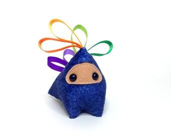 Handmade Plush Interactive Ninja Heart Ribbon Dragon Monster - Blue Denim - Muti-color Ribbons (Medium)